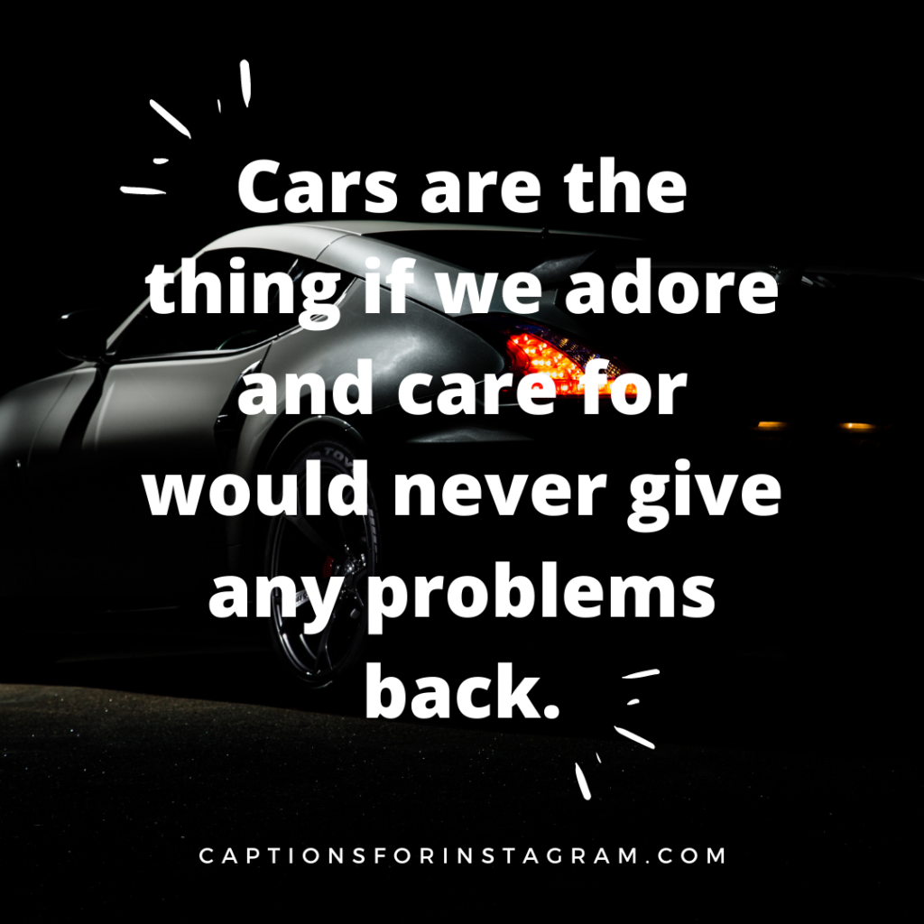 Cars are the thing if we adore and care for would never give any problems back.