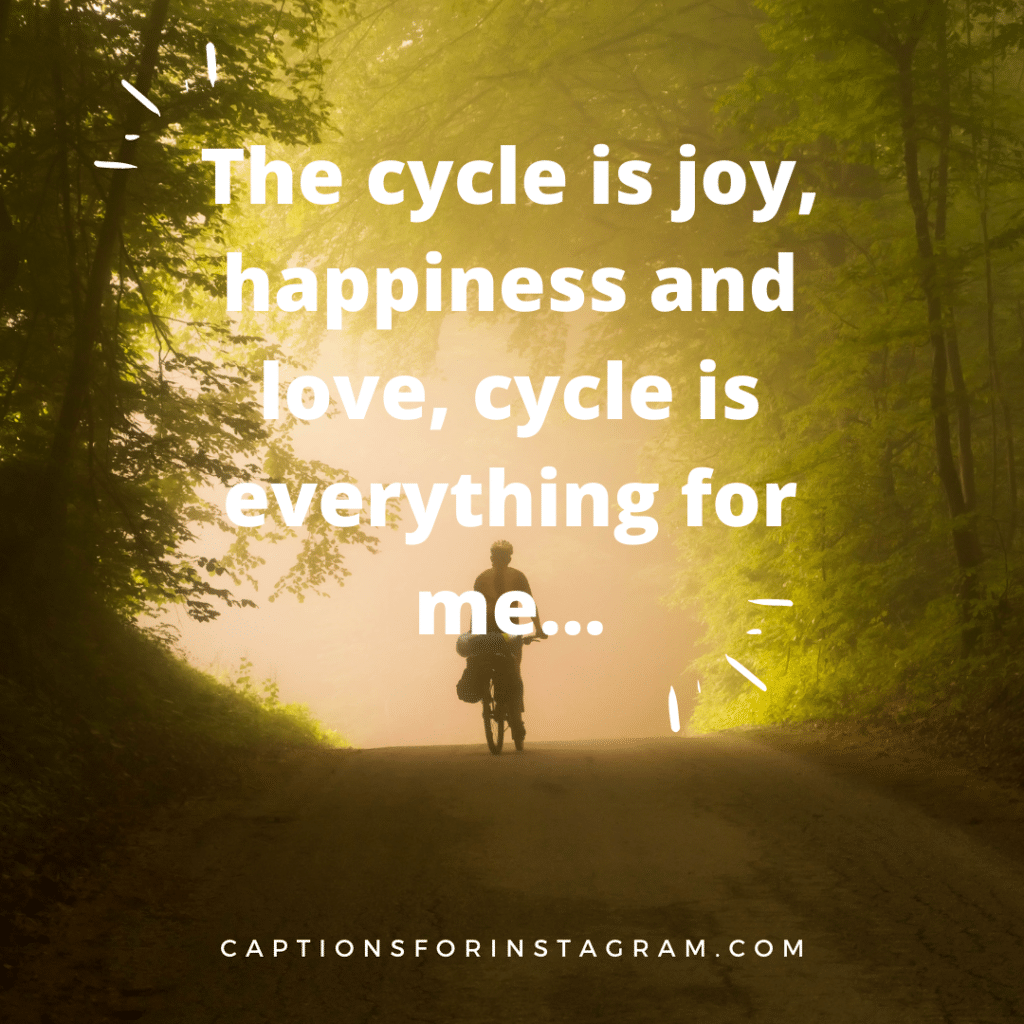 _The cycle is joy, happiness and love, cycle is everything for me...