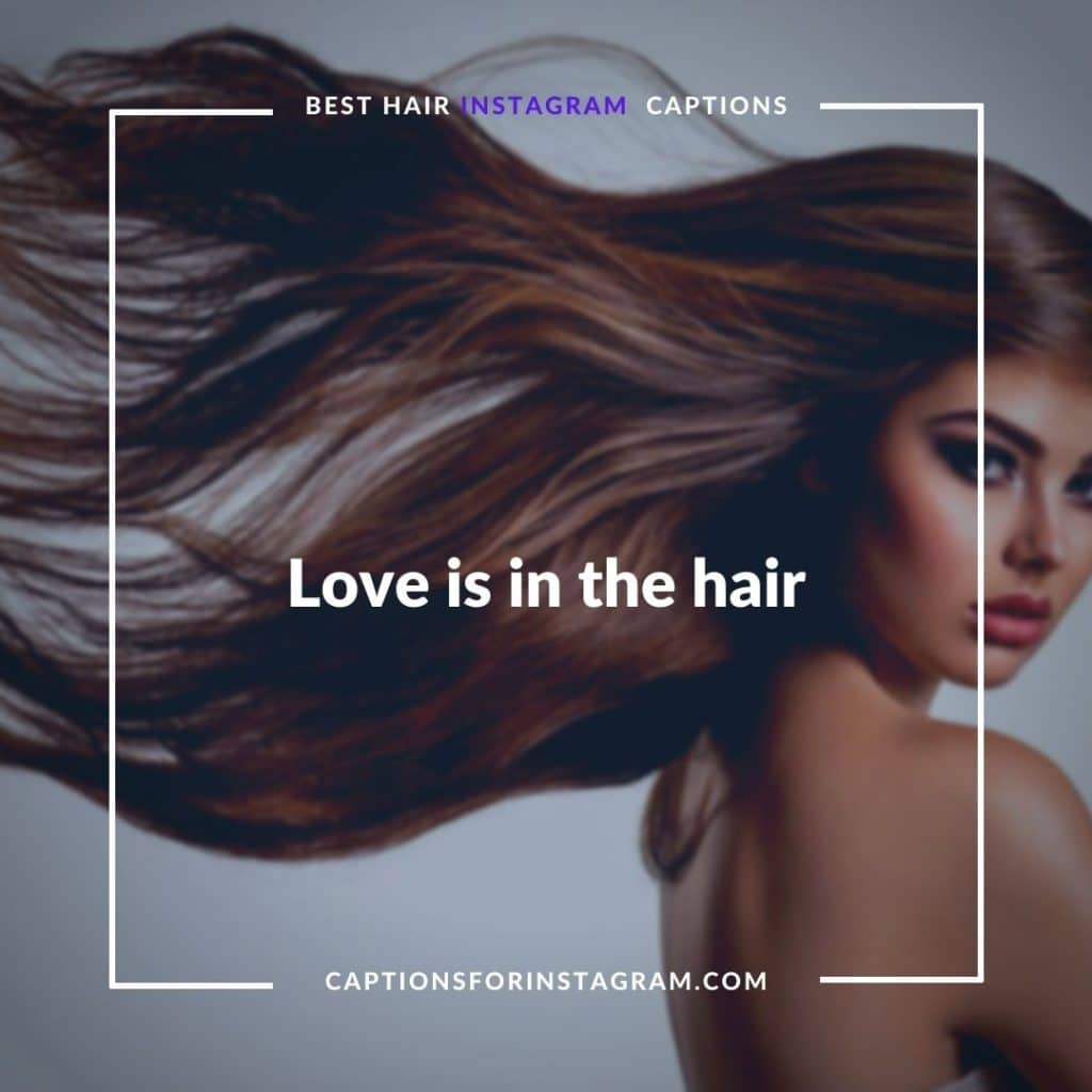 Love is in the hair - Funny hair Captions for Instagram